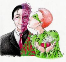 Riddler+Two-Face Christmas by Mistress-D