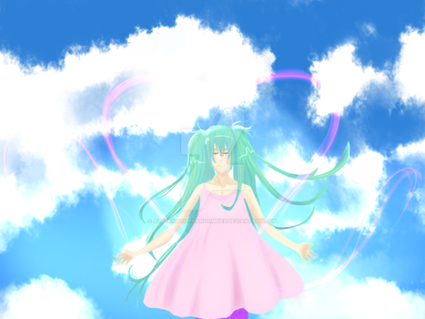 Miku in the clouds by AlternativeRandomnes