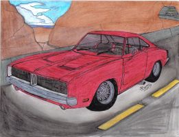 69' Charger on the Desert by Mister-Lou