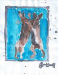 Boxing hares in watercolor by Justyn16