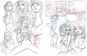 SKETCH: warm-up gals and composition studies by StephenBJones