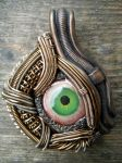 Wire wrapped polymer clay eye pendant by dogzillalives