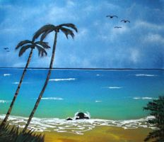 Beach 2 Pieces Canvas by RiensArtwork