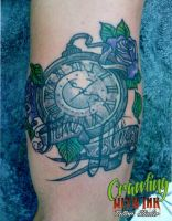 Time flies pocket watch tattoo by JustinMain