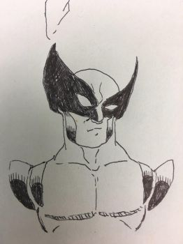 Work doodles yellow suit Wolverine by TheMoore