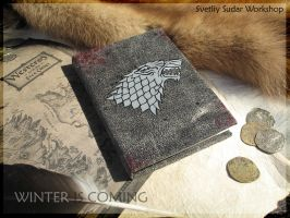Leather diary Winter is Coming (Stark) by Svetliy-Sudar