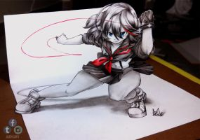 Ryuko Matoi 3D Drawing on Paper by Iza-nagi