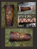 REVISED - Oak Falcon Leather Archery Arm Guard by windfalcon