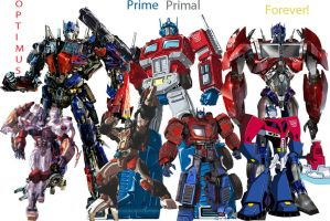 The different incarnations of Optimus Prime by Fanfictionist13