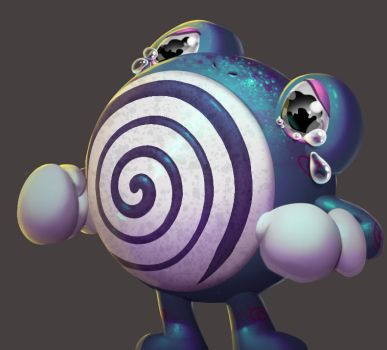 One face a day 214 Poliwhirl (pokemon) by Dylean