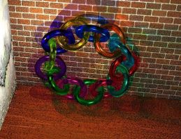 Moebius rings (glass) raytraced image by mcsoftware