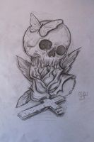 skull with rose by OrionSonArt