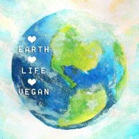 Vegan love earth button badge by walaoeeee