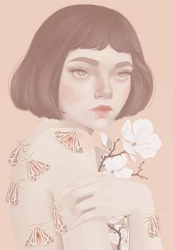 Girl and moths by Atia-ink