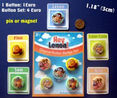 Hey Lenon Button Badge by Cathy86