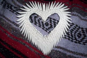 3d origami heart by animeperfect