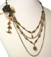 Black Rose Chain Necklace by sancha310sp