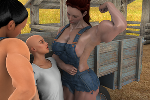 Farm girl flexing by jstilton