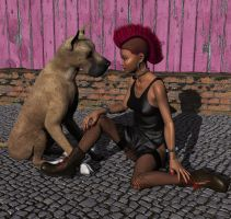 Little Lady and Big Doggie by xmas-kitty