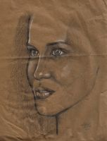 Kate Beckinsale on paper bag by IronMaiden720