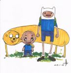 Cosmic meets Finn and Jake from Adventure Time by amartires
