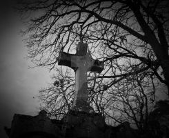 sheltered cross in bw by Gothicmama