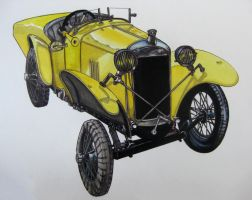 My father in law's  latest Amilcar, colour base by Miss-Gato