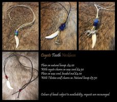 Coyote tooth necklaces by Kitsune--Rin