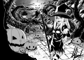 Witches Parade (Black and White) by kurisart