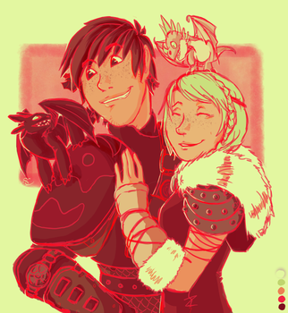 Palette Challenge: Hiccup and Astrid by shannonjc
