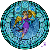 Commission: Stained Glass: Saika by Akili-Amethyst