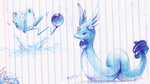 dragonair and marill by kori7hatsumine