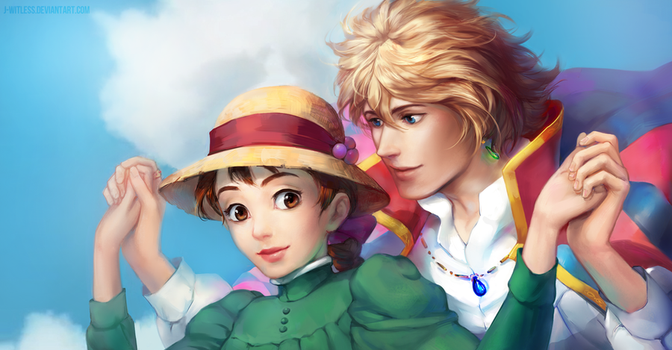 Howl and Sophie by j-witless