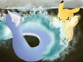 Battle! Dratini vs Pikachu by MagicBirdie