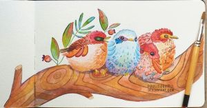 Four birds in a tree by paulinabemu