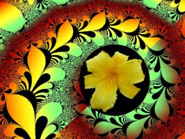 Flower in a Swirly Fractal by Urceola