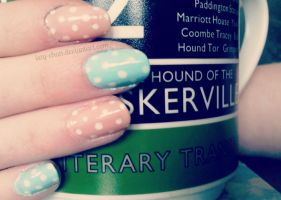 Vintage Blue + Pink Polka Dot Nails by Iszy-chan