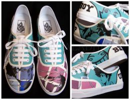 Commission: Ed and Spike Cowboy Bebop shoes by Vardagaladhiel