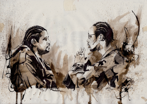 RZA and Forest Whitaker. Ghost Dog. Quick ink sket by GaryAlfordArt