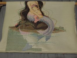 Mermaid Cross-Stitch (WIP) by MalteseSparrow