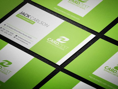 Stylish Refreshing Lime Green Business Card PSD by mengloong