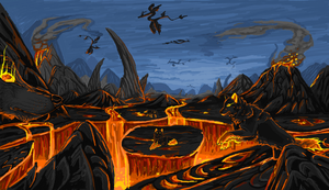 Lava wolves by Archerionwolf