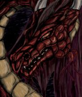 Dragon in red by illmatar
