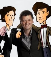Sherlock, Moffat and Doctor cartoon by CPD-91