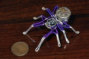Steampunk Spider pin Sculpture , Purple and skull by CatherinetteRings