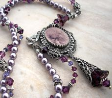 Purple Pearl Necklace by Aranwen