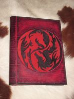 Double dragon, red and black, leather book cover by akinra-workshop