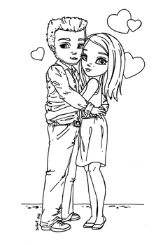Young Couple - lineart by JadeDragonne