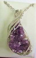 Amethyst Druzy Wire-Wrapped Pendant in Sterling by HeatherJordanJewelry