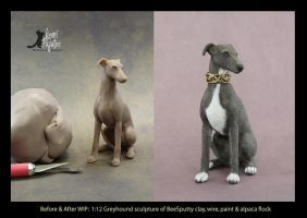 WIP miniature 1:12 scale Greyhound sculpture by Pajutee